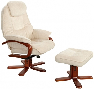GFA Hong Kong Beige Fabric Swivel Recliner Chair
