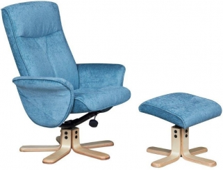 GFA Marrakech Aqua Fabric Swivel Recliner Chair