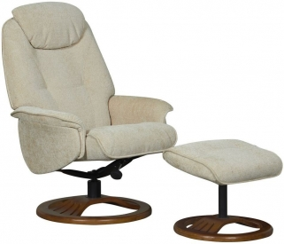 GFA Oslo Beige Fabric Swivel Recliner Chair