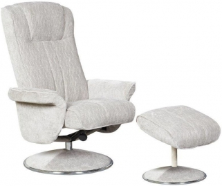 GFA Portia Silver Fabric Swivel Recliner Chair