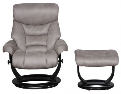 GFA Senator Grey Faux Suede Fabric Swivel Recliner Chair