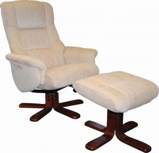 GFA Shangri La Beige Fabric Swivel Recliner Chair