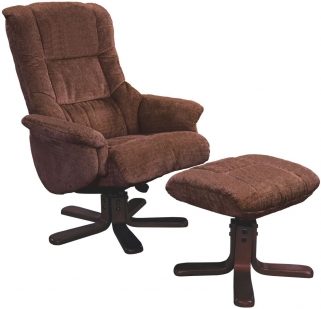 GFA Shangri La Chocolate Fabric Swivel Recliner Chair