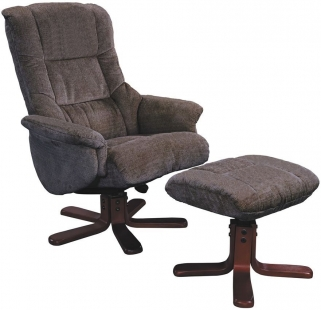 GFA Shangri La Mink Fabric Swivel Recliner Chair