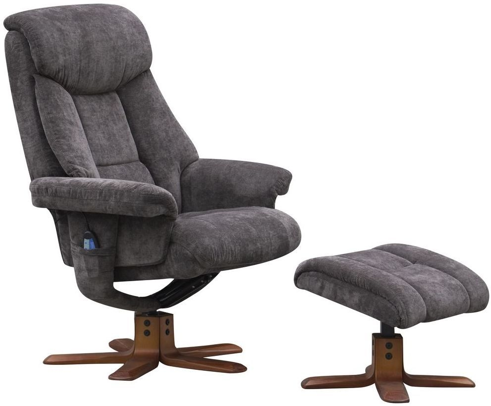 GFA Exmouth Charcoal Fabric Massage Swivel Recliner Chair Global Furniture