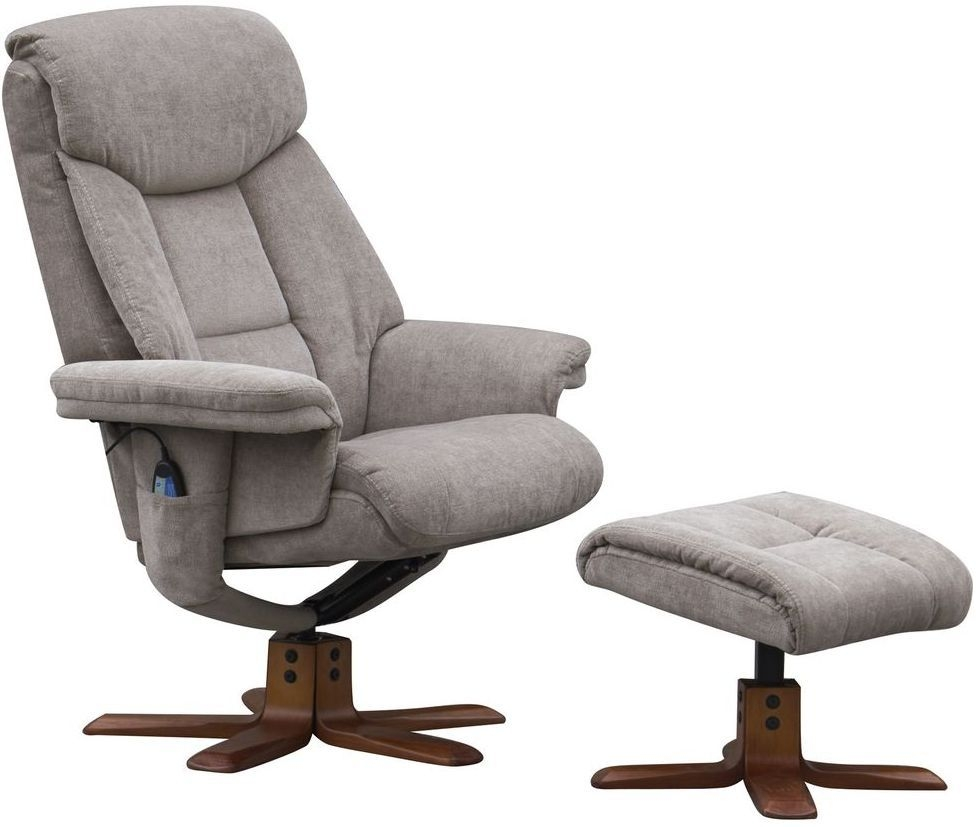 Gfa Exmouth Charcoal Fabric Massage Swivel Recliner Chair