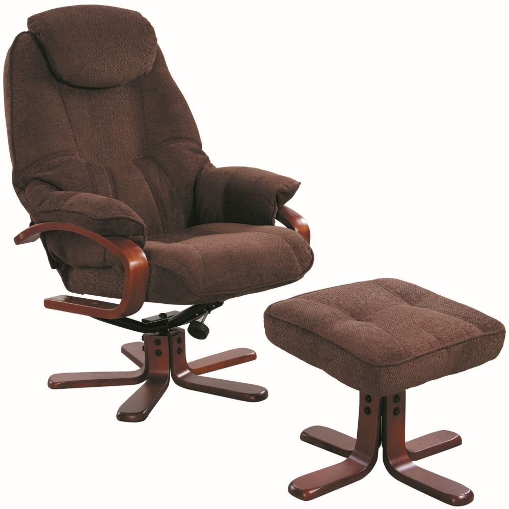 GFA Hong Kong Chocolate Fabric Swivel Recliner Chair