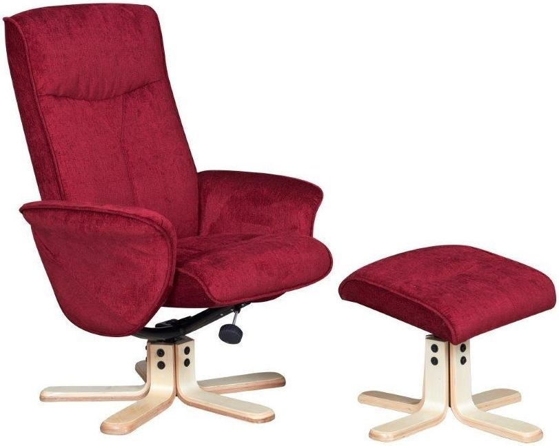 GFA Marrakech Crimson Fabric Swivel Recliner Chair