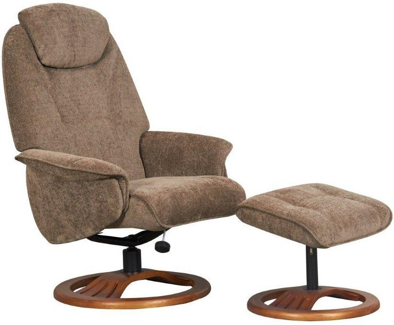 GFA Oslo Mink Fabric Swivel Recliner Chair Global