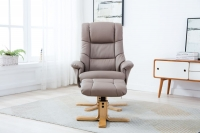 GFA Florence Swivel Recliner Chair with Footstool - Earth Plush Fabric