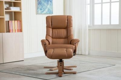 GFA Florence Swivel Recliner Chair with Footstool - Tan Plush Fabric