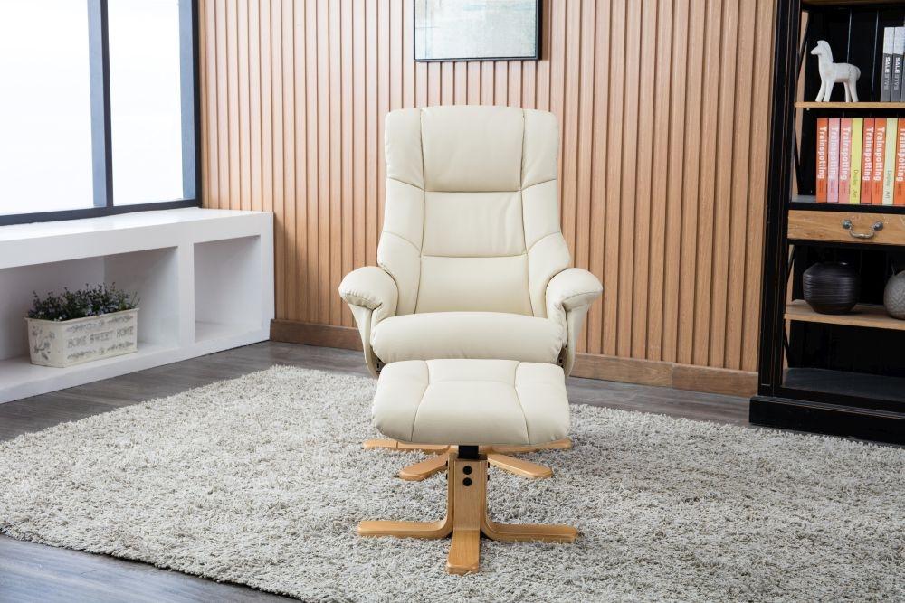 GFA Florence Swivel Recliner Chair with Footstool - Bone Plush Fabric