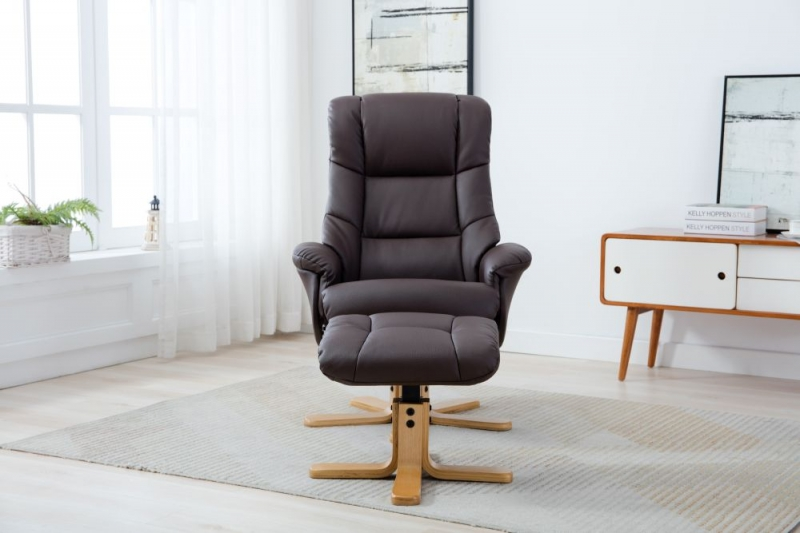 GFA Florence Swivel Recliner Chair with Footstool - Brown Plush Fabric