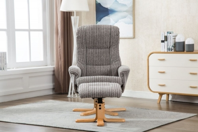 GFA Florida Swivel Recliner Chair with Footstool - Latte Fabric