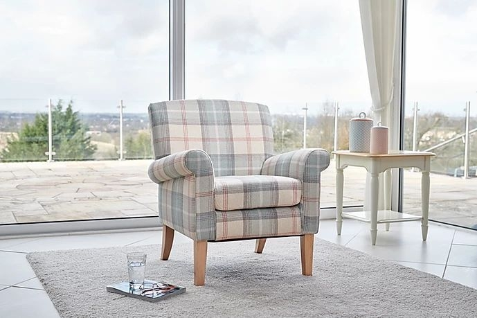 GFA Highland Accent Chair - Peppermint Plaid Fabric