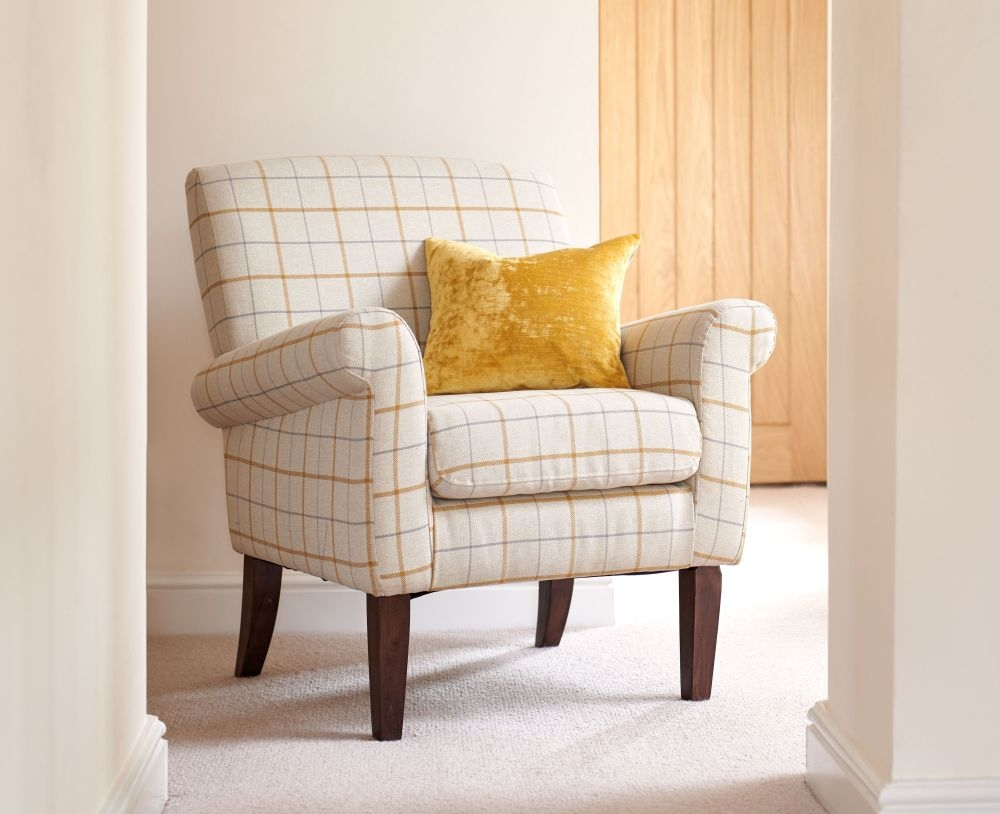 GFA Highland Accent Armchair - Butterscotch Plaid Fabric