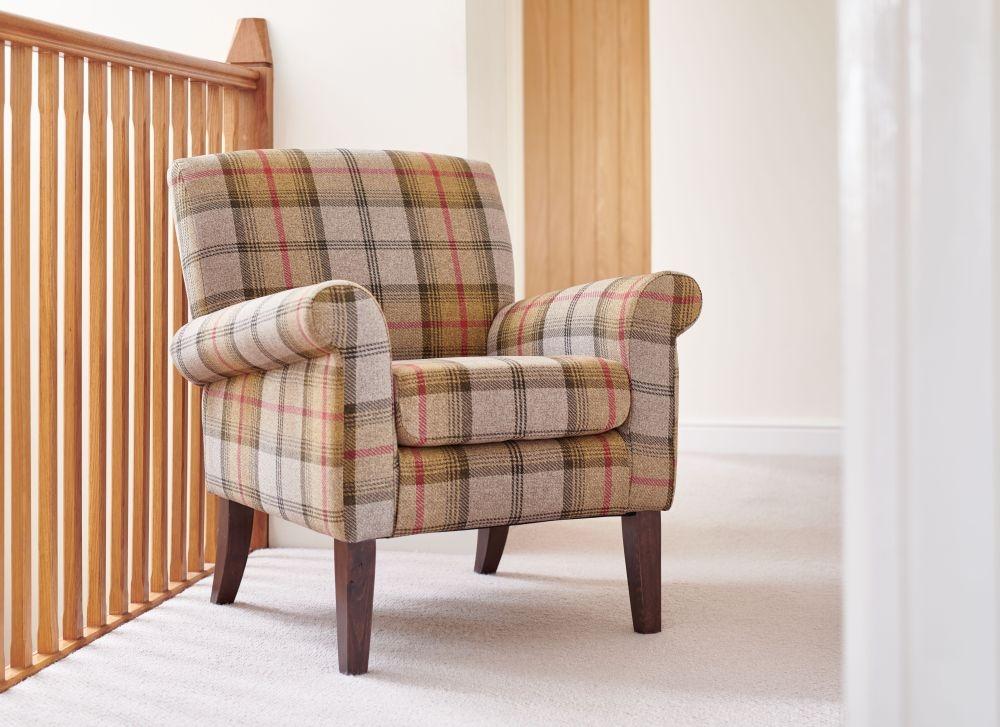 GFA Highland Accent Armchair - Canary Plaid Fabric