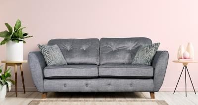 GFA Holborn 3 Seater Fixed Sofa - Silver Fabric
