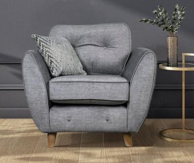 GFA Holborn Fixed Armchair - Silver Fabric