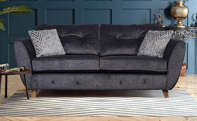 GFA Holborn 2 Seater Fixed Sofa - Graphite Fabric