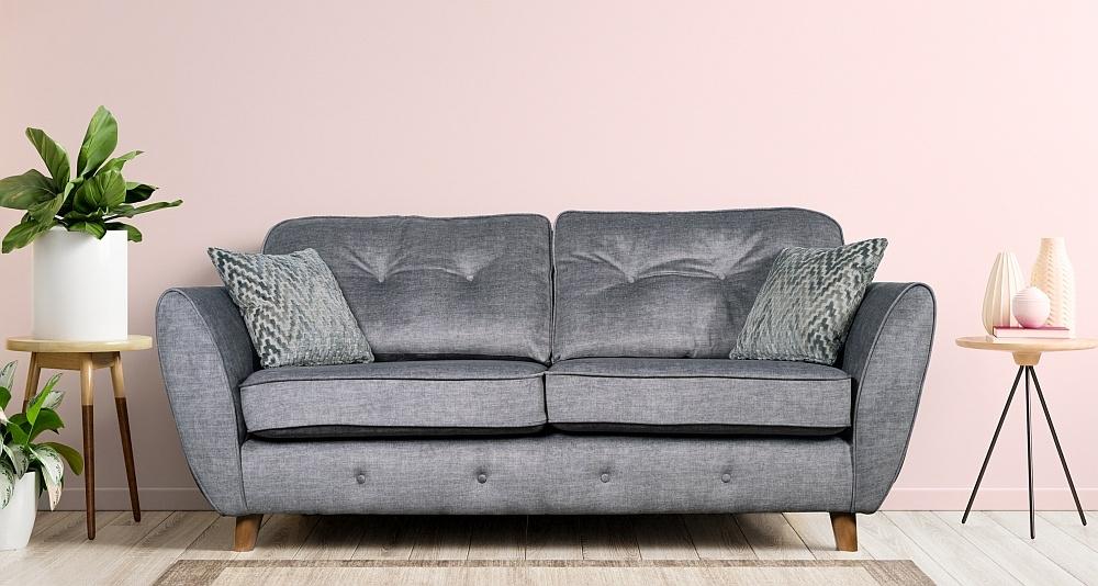 GFA Holborn 2 Seater Fixed Sofa - Silver Fabric