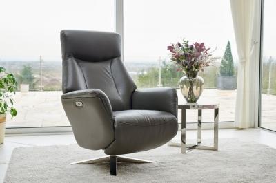 GFA Houston Swivel Recliner Chair - Iron Leather Match