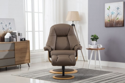 GFA Jersey Swivel Recliner Chair with Footstool - Truffle Leather Match Fabric