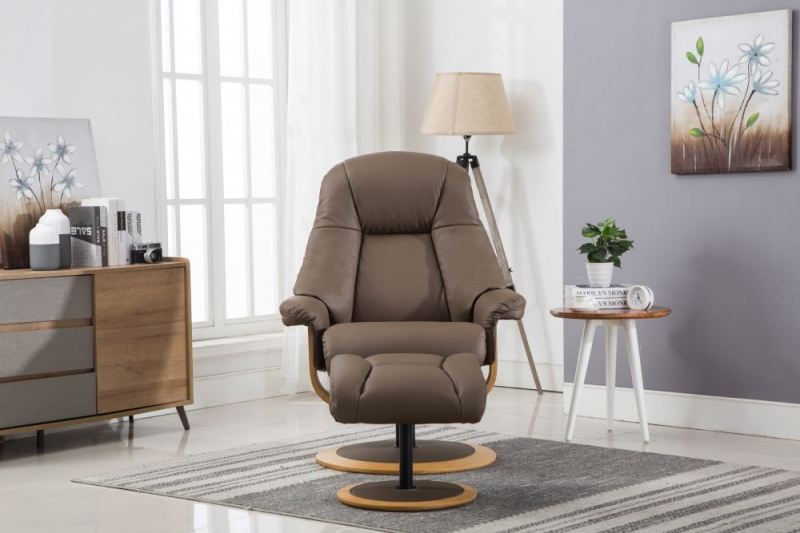 GFA Jersey Swivel Recliner Chair with Footstool - Truffle Leather Match