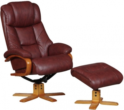 GFA Cologne Chestnut Leather Swivel Recliner Chair