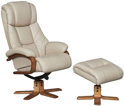 GFA Cologne Taupe Leather Swivel Recliner Chair