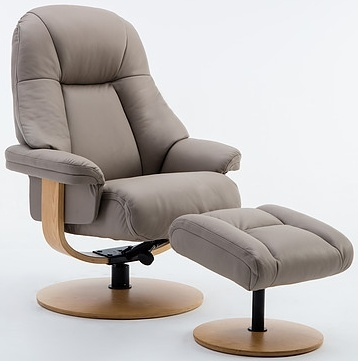 GFA Jersey Pebble Leather Swivel Recliner Chair