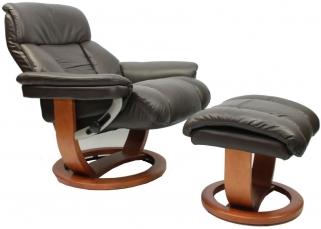 GFA Mars Chocolate Leather Swivel Recliner Chair
