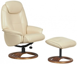 GFA Oslo Cream Bonded Leather Swivel Recliner Chair