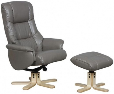 GFA Shanghai Grey Bonded Leather Swivel Recliner Chair