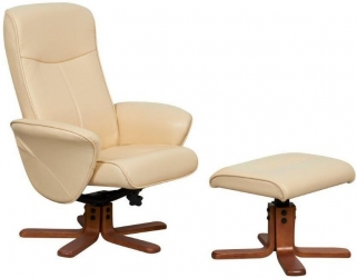 GFA Tuscany Cream Faux Leather Swivel Recliner Chair