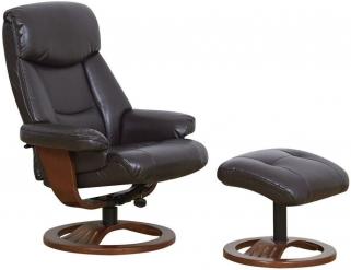 GFA York Chocolate Bonded Leather Swivel Recliner Chair