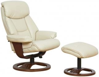 GFA York Cream Bonded Leather Swivel Recliner Chair