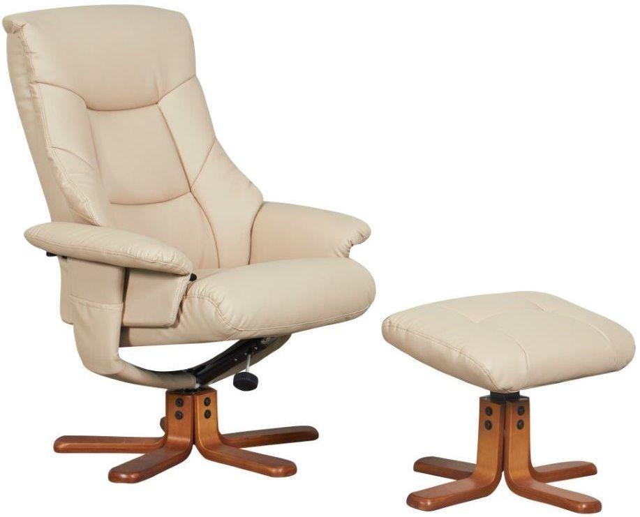GFA Beijing Cafe Latte Faux Leather Massage Swivel Recliner Chair