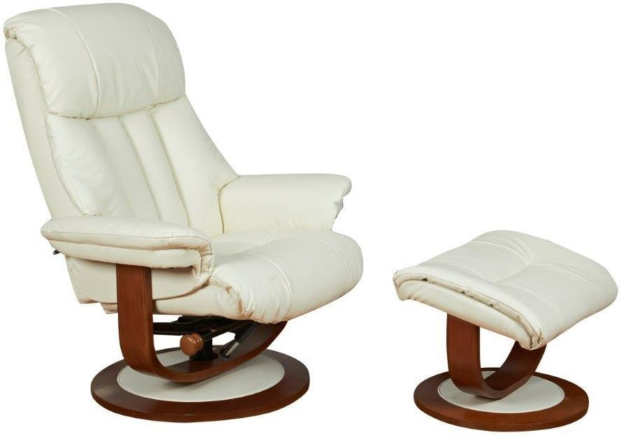 GFA Hereford Cream Leather Swivel Recliner Chair