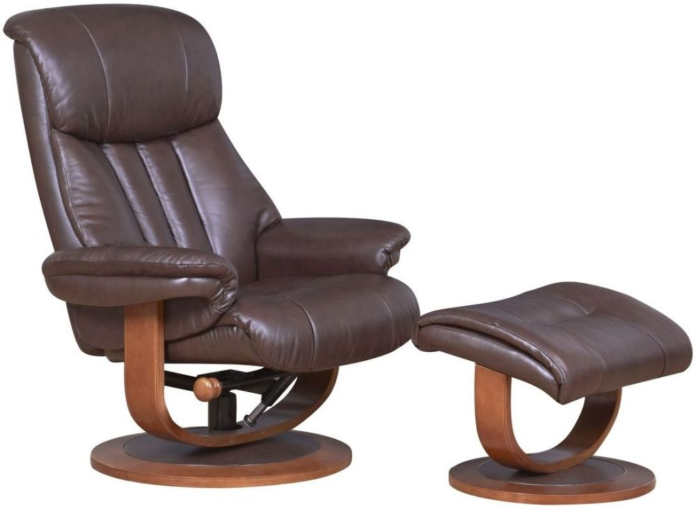 GFA Hereford Saddle Brown Leather Swivel Recliner Chair