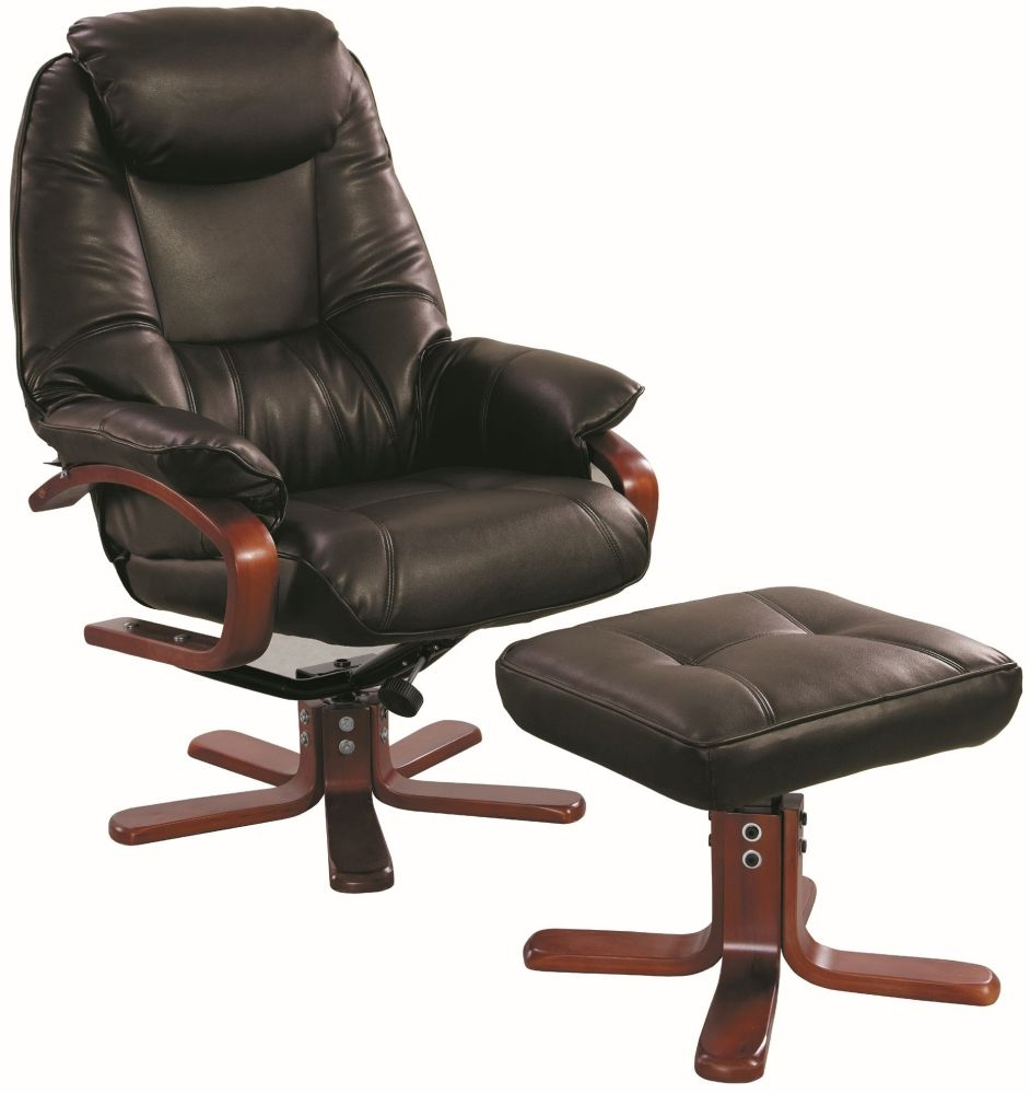 GFA Macau Chocolate Bonded Leather Swivel Recliner Chair