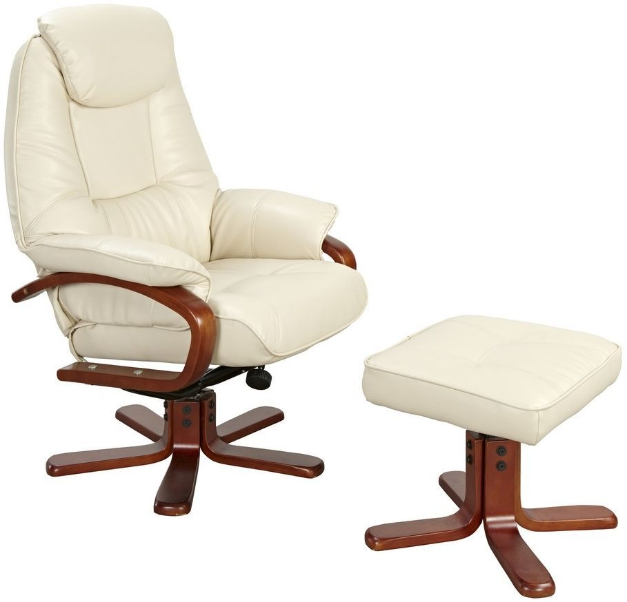 GFA Macau Cream Bonded Leather Swivel Recliner Chair
