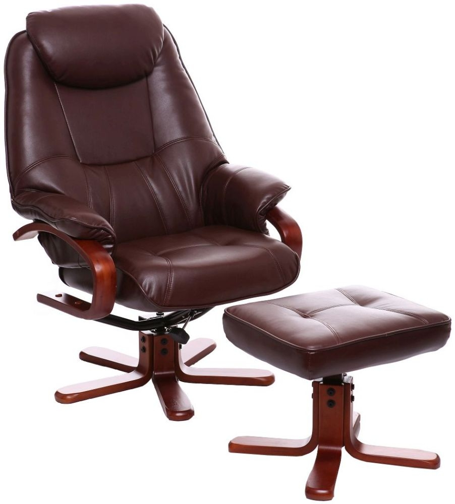 GFA Macau Nut Brown Bonded Leather Swivel Recliner Chair