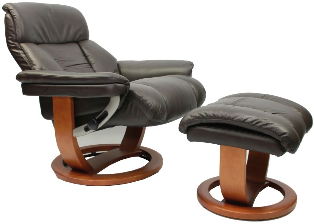 GFA Mars Chocolate Leather Swivel Recliner Chair
