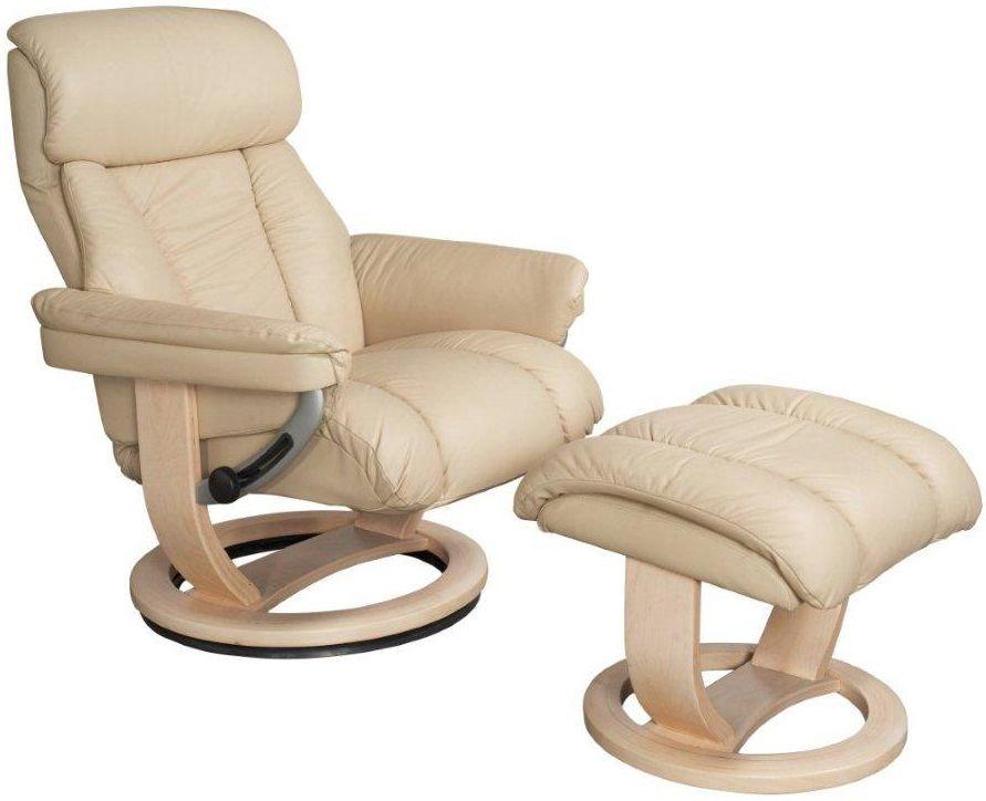 GFA Mars Cream Leather Swivel Recliner Chair