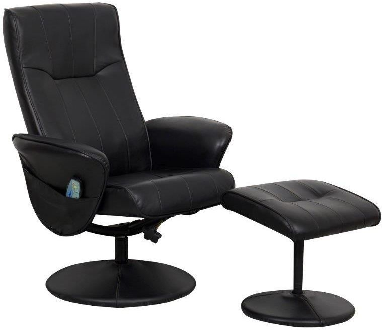 gfa milan black faux leather massage swivel recliner
