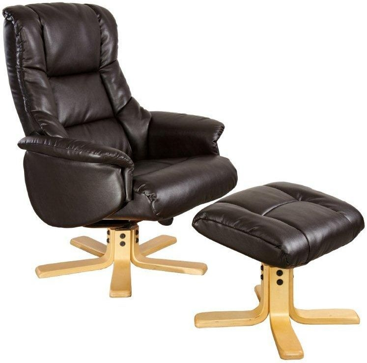GFA Shanghai Chocolate Bonded Leather Swivel Recliner Chair