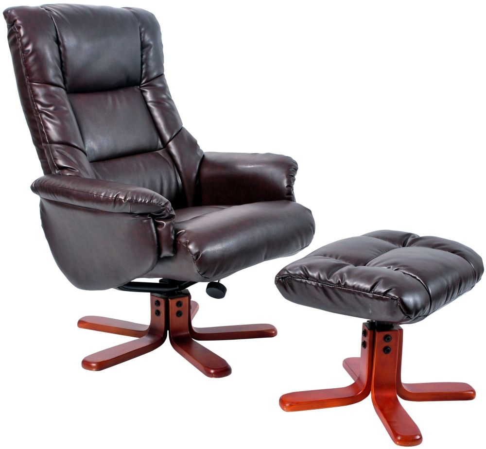 GFA Shanghai Hazelnut Bonded Leather Swivel Recliner Chair