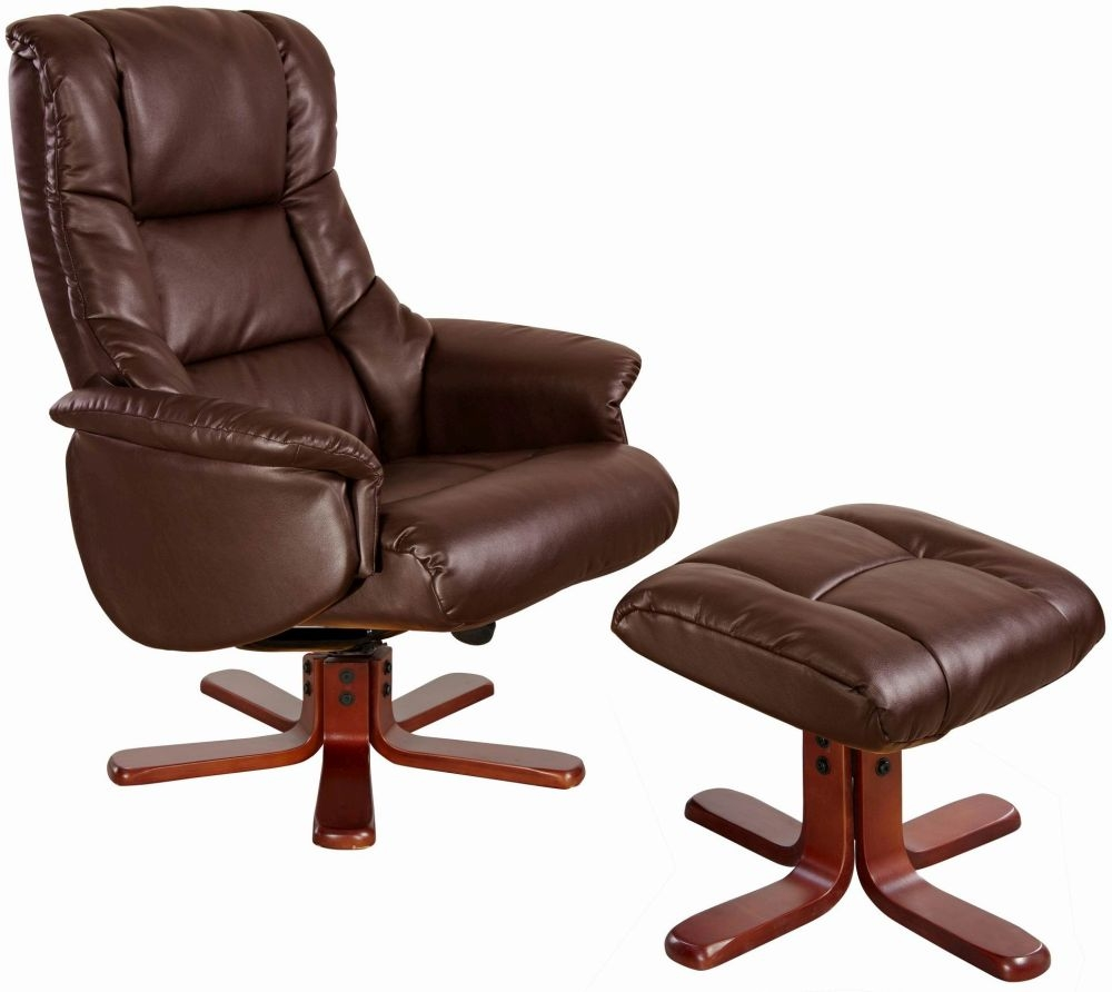 GFA Shanghai Nut Brown Bonded Leather Swivel Recliner Chair