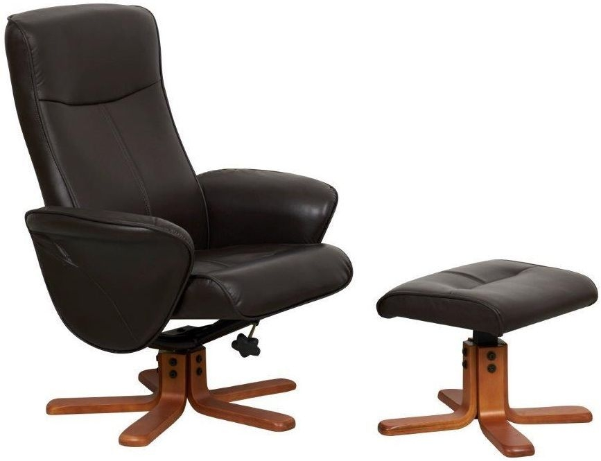 GFA Tuscany Chocolate Faux Leather Swivel Recliner Chair